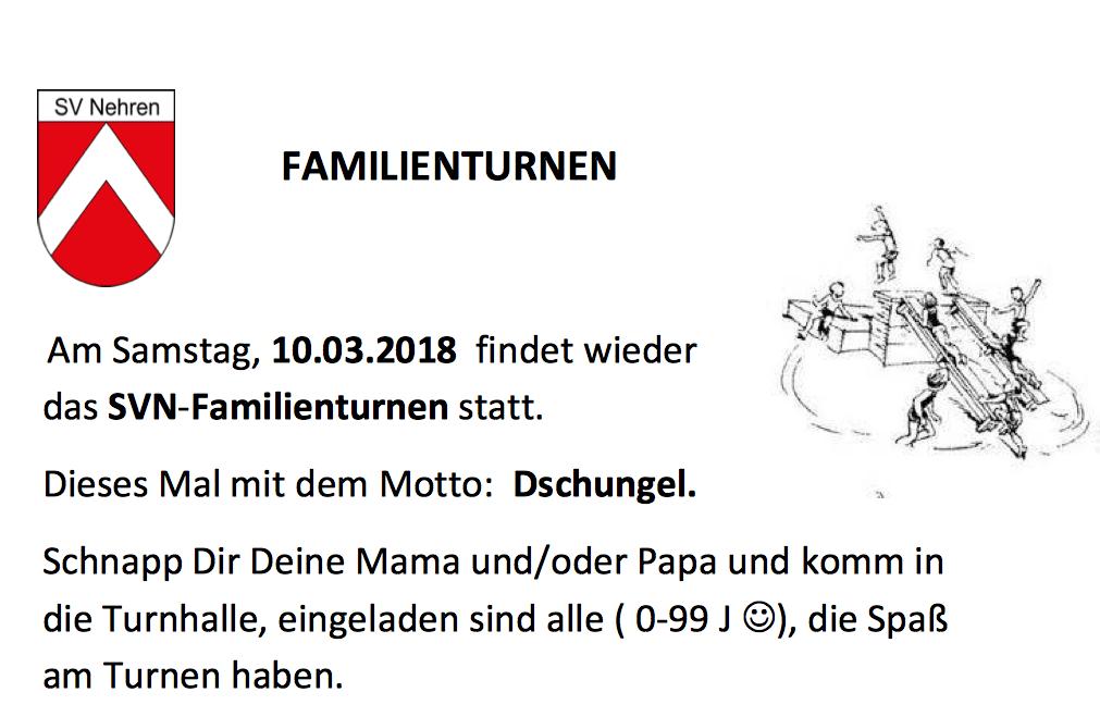 Familienturnen am 10 März
