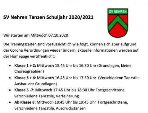 Tanzabteilung startet wieder am 07.10.2020