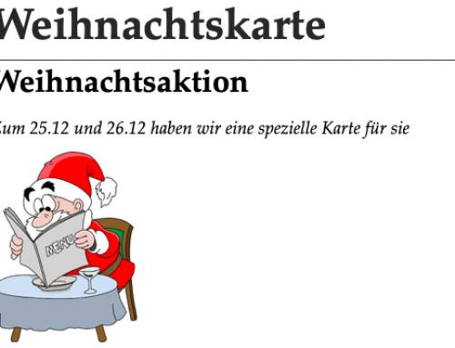 Weihnachtsaktion am 25. und 26. Dezember